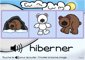 FRENCH BOOM CARDS • Les verbes • HIVER avec Audio