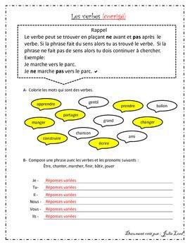 Les verbes - activité