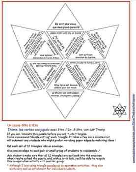 A triangle puzzle: Les verbes conjugués avec être / Dr. & Mrs. van der Tramp