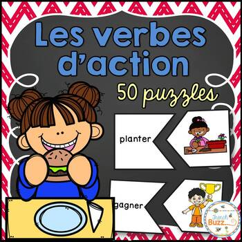 Les verbes d'action - 50 Puzzles - French Action Verbs
