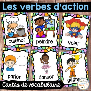 Les verbes d'action - Cartes de vocabulaire - French Action Verbs