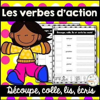 Les verbes d'action - Découpe et colle - French Action Verbs