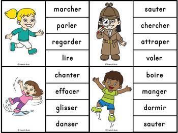 Les verbes d'action - Ensemble 2 jeux d'association - French Action Verbs