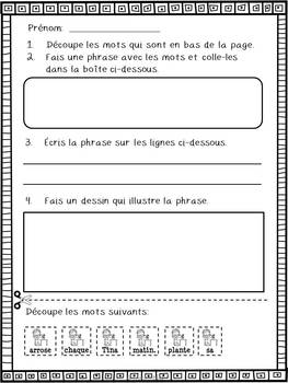 Les verbes d'action - Phrases mêlées - French Action Verbs