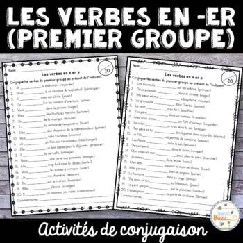 """Les verbes en """"er"""" (premier groupe) - activités"""
