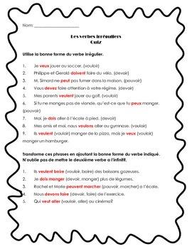 Les verbes irréguliers (Irregular Verbs)