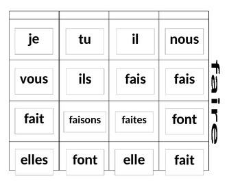 Les verbes réguliers et irréguliers - Memory Game with French verb conjugations