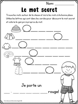 les v tements clothing themed vocabulary activities in french tpt. Black Bedroom Furniture Sets. Home Design Ideas