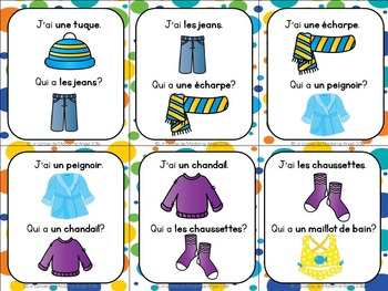Les vêtements:  Clothing Themed Vocabulary Game in French - J'ai...Qui a...?