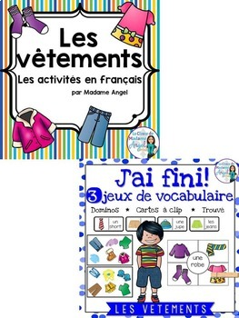 Les vêtements:  ClothingThemed Vocabulary BUNDLE in French
