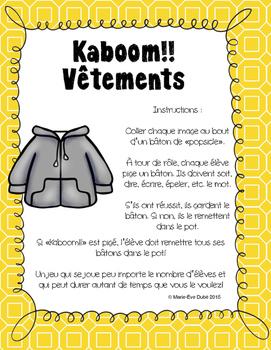 Les vêtements - Kaboom!!