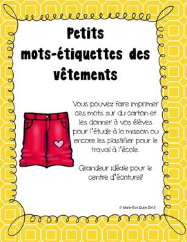 Les vêtements - Mots-étiquettes