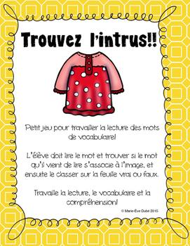 Les vêtements - Trouvez l'intrus!!