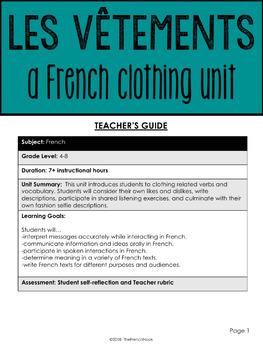 Les vêtements - a French clothing unit