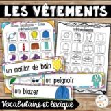 Les vêtements - mur de mots et lexique - French clothing