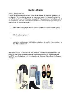 Les vêtements - with regular ER verbs