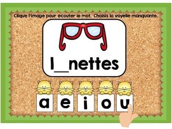 Les voyelles manquantes: French Vowel Sounds Digital Task Cards - BOOM CARDS