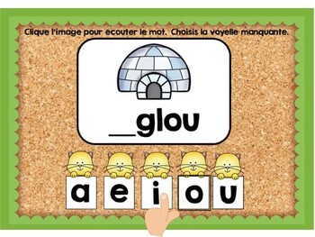 Les voyelles manquantes: French Vowel Sounds Digital Task Cards - BOOM CARDS