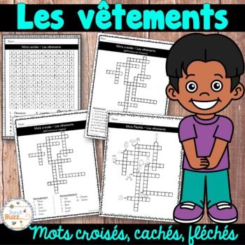 Les vêtements (French clothing) - mots croisés, mots fléchés et mots cachés