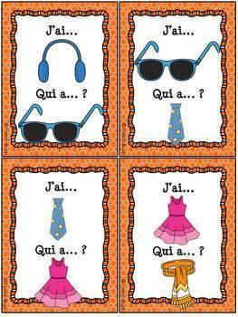 Les vêtements - J'ai, Qui a Jeu sur les vetements (game on clothing) French