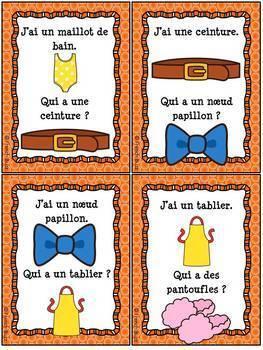 """Les vêtements - Jeu """"J'ai... Qui a"""" sur les vetements - French Clothing"""