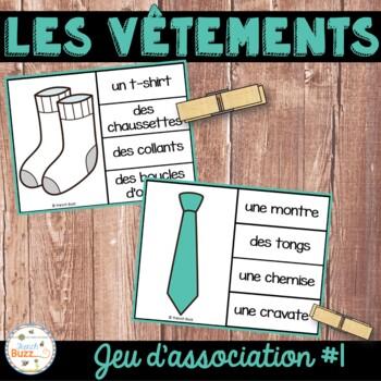 Les vêtements - jeu d'association - mots / French Clothing