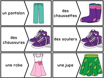 Les vêtements - puzzles/French clothing