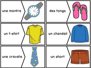 Les vêtements - puzzles/French clothing