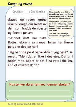 Lese og skrive med Æsops fabler: Gaupa og reven.
