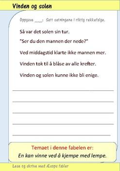 Lese og skrive med Æsops fabler: Vinden og solen