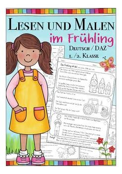 Leserätsel Deutsch, Frühling, German spring Lesen und Malen für Kinder