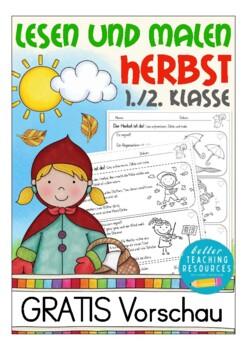 Leserätsel Deutsch HERBST, German Lesen und Malen für Kinder (DAZ), FREE PREVIEW