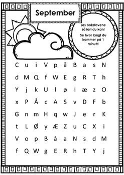 Lesing av bokstavene (a-å) på tid
