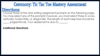 Leslie Marmon Silko's Ceremony: Tic Tac Toe Mastery Assessment