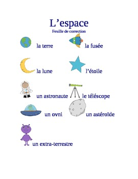 L'espace : game-flashcards-writing activity