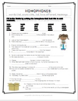 Less Common Homophones Worksheet