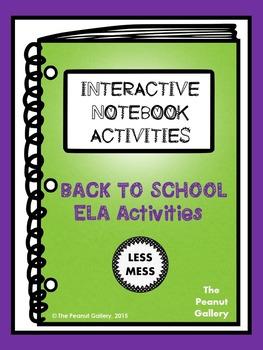 """Less Mess"" Back to School ELA Interactive Notebook Activities"