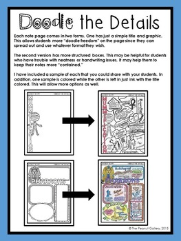 """""""Less Mess"""" Doodle the Details: Ancient Egypt Visual Note Pages"""