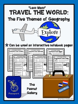 """Less Mess"" Interactive Notebook Activity: The Five Themes of Geography"