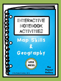 """""""Less Mess"""" Map Skills & Geography Interactive Notebook Ac"""