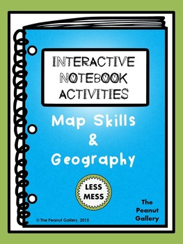 """Less Mess"" Map Skills & Geography Interactive Notebook Ac"