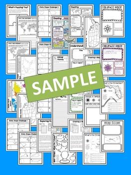"""Less Mess"" Social Studies, Map Skills & Geography Interactive Notebook Bundle"