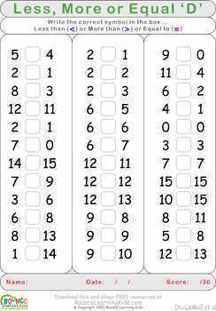 Less More Equal (7 Numeracy sheets)