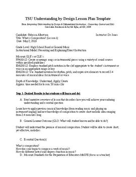 Music Composition Unit Lesson Plan 1: What is Composition?