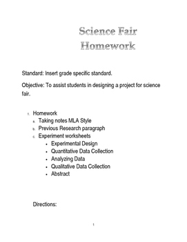 Less Prep Science Fair Editable Homework Packet