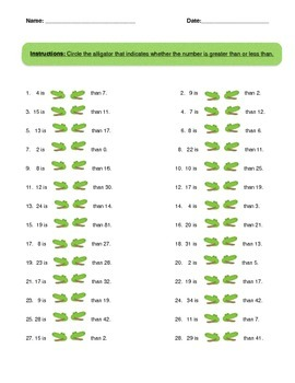 Less Than Greater Than Alligator Worksheet