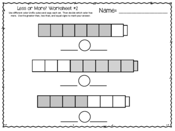 Less or More? Unifix Cube Worksheets