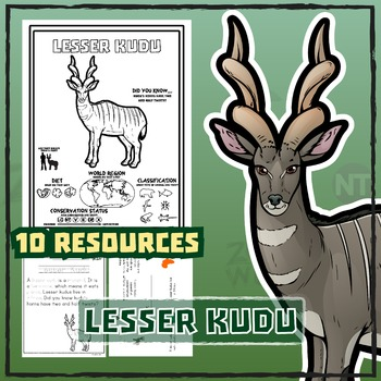 Lesser Kudu -- 10 Resources -- Coloring Pages, Reading & Activities
