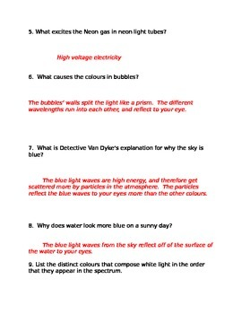 Lesson 03 Bill Nye Light and Colour Answers