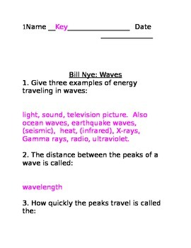 Lesson 05 Bill Nye Waves Answers